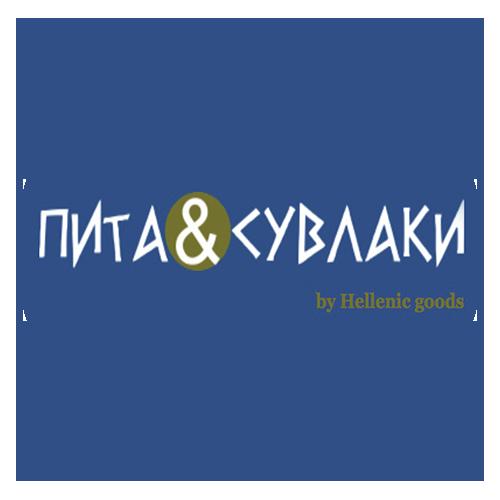 круглый логотип ресторана пита и сувлаки